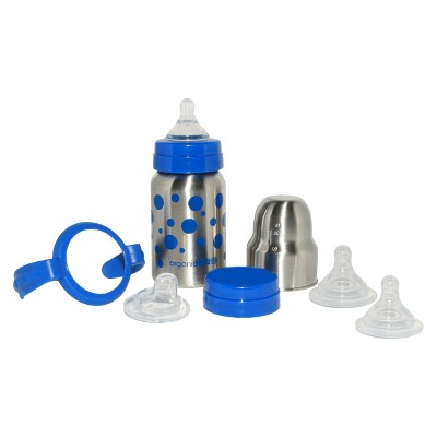organicKidz 7pc Stainless Steel Baby Bottle Gift Set with Sippy Cup and Water Bottle - Blue Dots