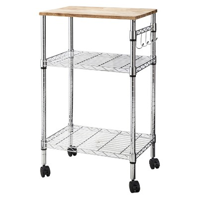 Chrome Microwave Cart with Wood Block Top - Room Essentials™