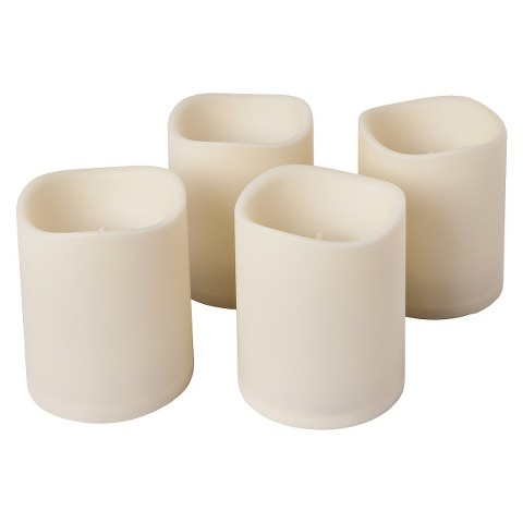 "Indoor / Outdoor Flameless LED Battery Operated Pillar Candle with Timer Set of 4 - Bisque (6""X4"")"
