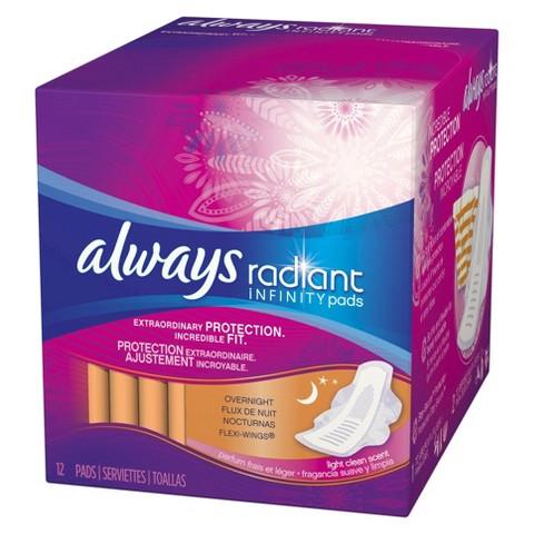 Always Radiant Infinity Overnight Pads