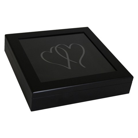 Black Two Hearts Keepsake Wedding Shadow Box