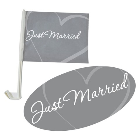Just Married Car Flag & Window Decal