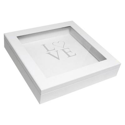 White Modern Love Wedding Keepsake Shadow Box