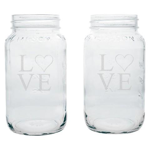 Mason Jars - Love Design (2 Small & 2 Large)
