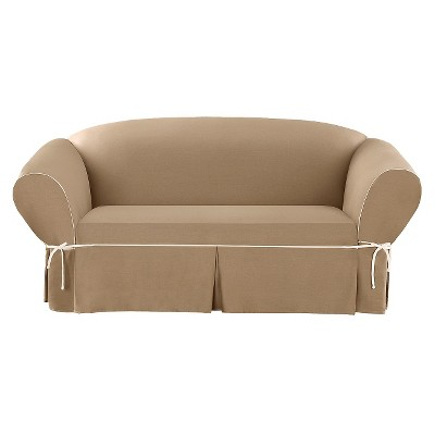 Sure Fit Corded Canvas Sofa Slipcover - Cocoa