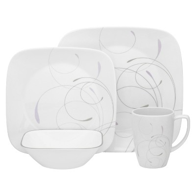 Corelle Vio 16 Piece Square Dinnerware Set - Gray