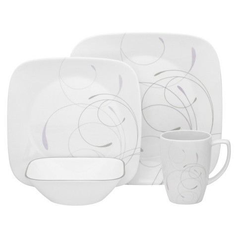 Corelle Vio 16 Piece Square Dinnerware Set - Gray