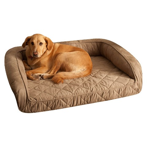 Buddy Beds Memory Foam Bolster Dog Bed -Taupe (Large)