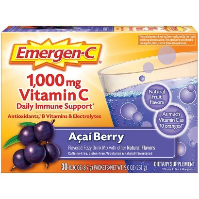 Emergen-C® Vitamin C Acai and Berry Dietary Supplement - 30 Count (8.9 oz Each)
