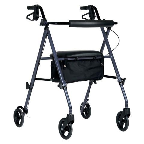 Medline Ultra Lightweight Rollator with 6 inch Wheels - Burgundy