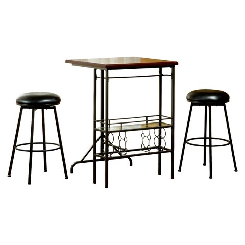 Hillsdale Furniture 3 Piece Bardstown Bar with 2 Backless Non-Swivel Barstools