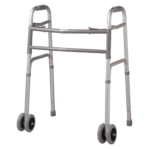 Medline Bariatric Extra-Wide Folding Walker with 5 inch Wheels - Silver