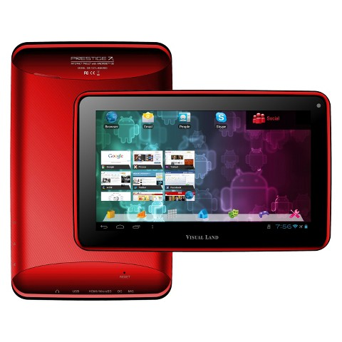 "Visual Land Prestige 7"" Google Certified Android 4.1 Tablet - Red (ME107-L-8GB-RED)"