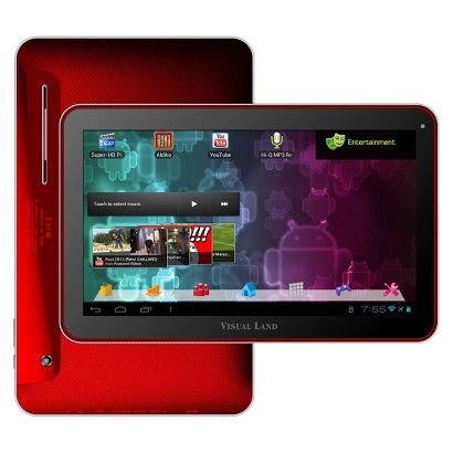 "Visual Land Prestige 10"" Android Tablet (ME-110-16GB-RED) with 16GB Internal Storage, 1GB Memory - Red"
