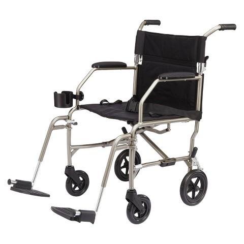 Medline Ultra Lightweight Transport Chair - Blue