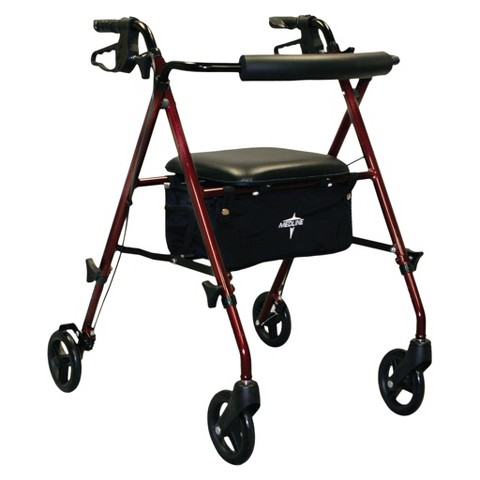 Medline Ultra Lightweight Rollator with 6 inch Wheels - Burgundy