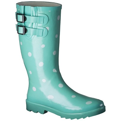 Women's Novel Dot Rain Boots - Mint