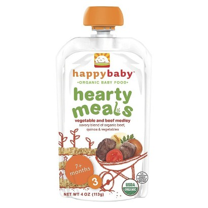 Happy Baby Organic Stage 3 Baby Food Pouch - Vegetable & Beef Medley (16 Pack)