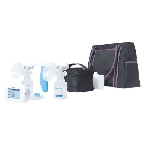The First Years Breastflow Memory Pump Double Electric Breast Pump with Tote and Accessory Kit