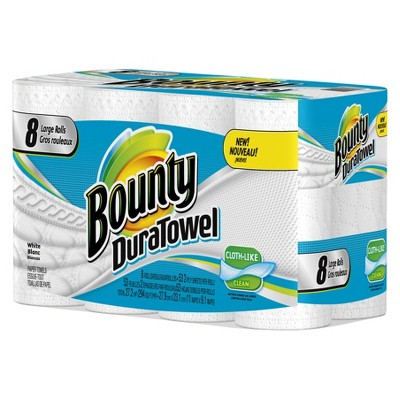 Bounty DuraTowel White Cloth-Like Paper Towels 8 Large Rolls
