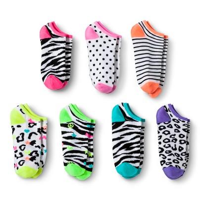 Xhilaration® Girls 7-Pack Printer Low-Cut Socks -  White