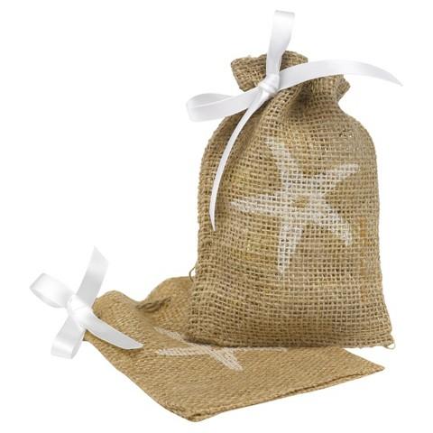 Burlap Starfish Design Wedding Favor Bag (25 count)
