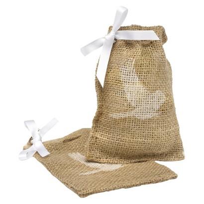 Burlap Favor Bags - Bird Design