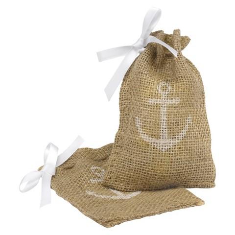 Burlap with Anchor Design Wedding Favor Bags : Target