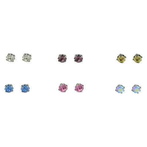 6 Stud with Glass Stones - Multicolored