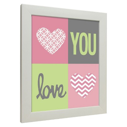 Icons - Love You Hearts Wall Art - Pink