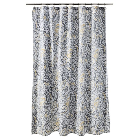 Grey and yellow shower curtain target - Threshold Paisley Shower Curtain Target