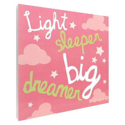 Light Sleeper Script Wall Art - Pink