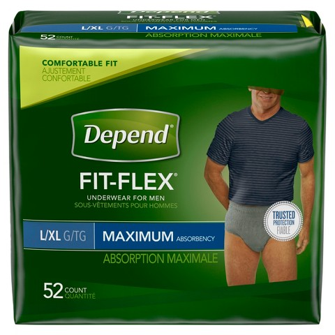 Depend Large and Extra Large Underwear for Men - 52 Count