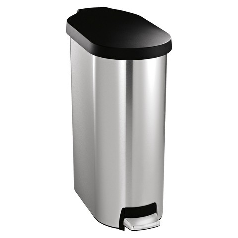simplehuman studio 45 Liter Slim Step Trash Can in Brushed Stainless Steel with Plastic Lid