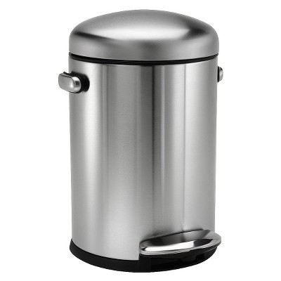 simplehuman studio 4.5 Liter Retro Step Trash Can in Brushed Stainless Steel with Plastic Lid