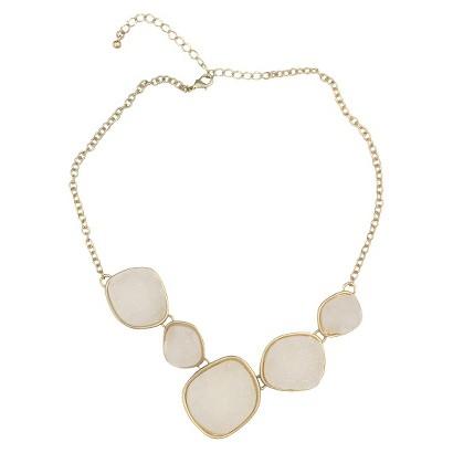 Satin Druzy Necklace - White