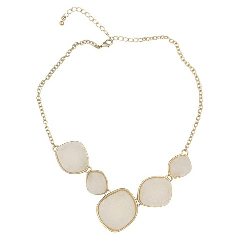 Satin Druzy Necklace - White