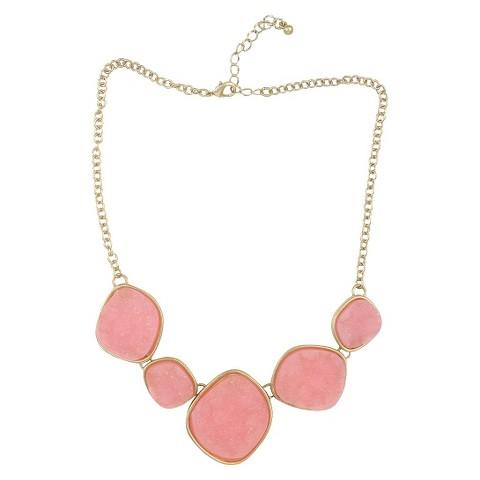 Satin Druzy Necklace - Pink