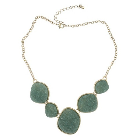 Satin Druzy Necklace - Green
