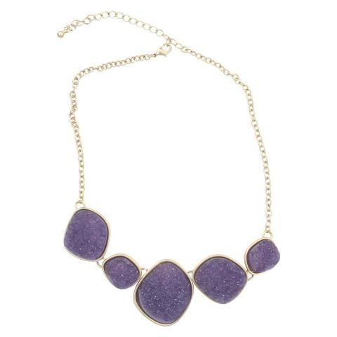 Satin Druzy Necklace - Purple