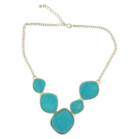 Satin Druzy Necklace - Turquoise
