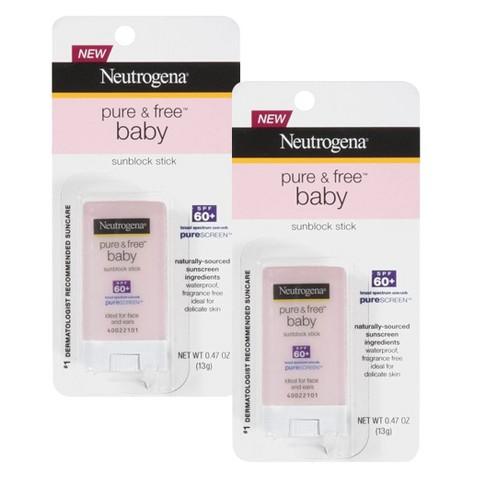 Neutrogena Pure & Free Baby Sunblock Stick SPF 60+ Bundle - .47 oz each