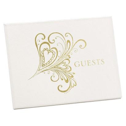 Heart Paisley Guest Book - Gold
