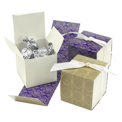 Damask Wrap Favor Boxes - Purple