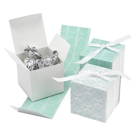 Aqua Damask Wrap Wedding Favor Box (25 count)