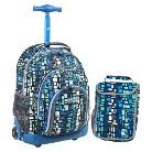 J World Lollipop Sparkling Wheel Rolling Backpack with Lunch Bag - Squares Blue