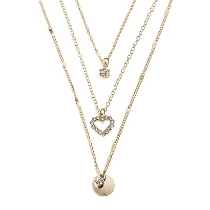 Triple Chain Charm Necklace - Gold