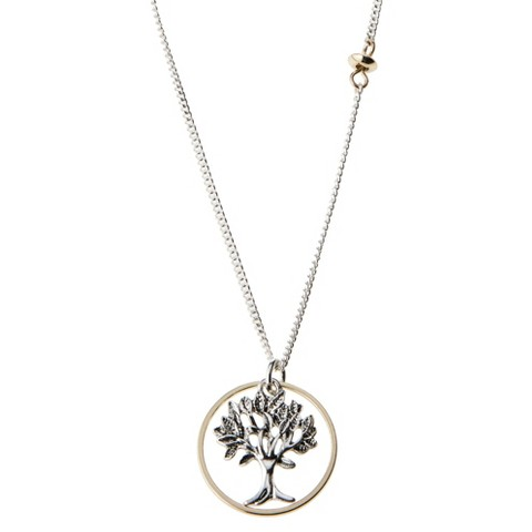 Tree Of Life Pendant Necklace - Silver + Gold