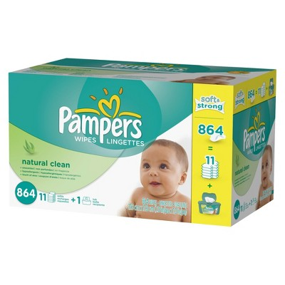 Pampers Natural Clean Baby Wipes - 864 Count