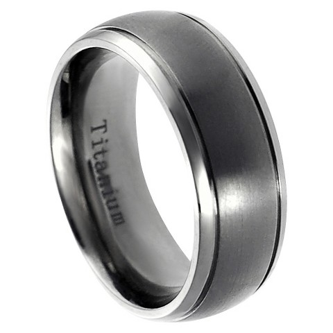 Men's Daxx Titanium Brushed Center Grooved Edge Band (8mm)